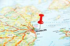 Dublin Ireland ,United Kingdom map. And pin - Travel concept stock image