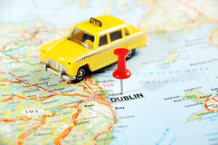 Dublin Ireland  ,United Kingdom  map taxi car Royalty Free Stock Images