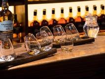 DUBLIN IRLAND - AUGUSTI 22, 2018: Whiskymuseet i Dublin är mycket populärt arkivbild