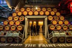 DUBLIN IRLAND - FEBRUARI 7, 2017: Folk som besöker inre av det Guinness magasinet i Dublin Trätrummor av öl royaltyfri fotografi