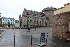 DUBLIN IRLAND, FEBRUARI 02 2018: REDAKTÖRS- FOTO AV Dublin Castle av Dame Street, Dublin, Irland Arkivfoto