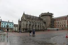 DUBLIN IRLAND, FEBRUARI 02 2018: REDAKTÖRS- FOTO AV Dublin Castle av Dame Street, Dublin, Irland Arkivbild