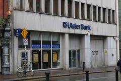 DUBLIN IRLAND, FEBRUARI 18 2018, REDAKTÖRS- FOTO AV Ulster bankbyggnad EN AV DE STORA 4 BANKERNA I IRLAND Arkivfoto