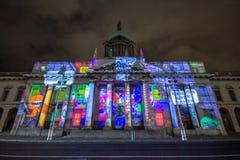 Dublin, Irlande, le 30 janvier 2016 LE BUREAU DE DOUANE Expositions légères, le festival de nouvelle année photographie stock libre de droits