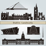 Dublin landmarks and monuments. On blue background in editable vector file Royalty Free Stock Photos
