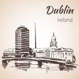 Dublin Liffey swoboda Hall i iglica Dublin Irlandia royalty ilustracja