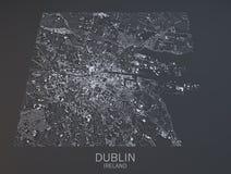 Dublin map, satellite view, Ireland Stock Images