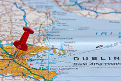 Dublin na mapie zdjęcia royalty free