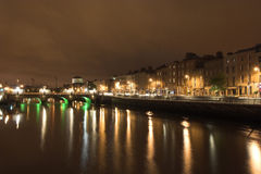 Dublin at Night. Dublin view over the river Liffey Stock Images