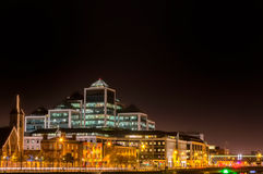 Dublin at night. Night cityscape of Dublin, with church Immaculate Heart of Mary and Ulster Bank Group building in centar Stock Photo