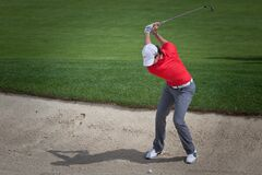 DUBLIN, OH, UNITED STATES - May 29, 2013: Rory McIlroy in Sand Trap