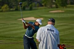 DUBLIN, OH, UNITED STATES - May 29, 2013: Tiger Woods Practice Swing