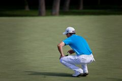 DUBLIN, OH, UNITED STATES - May 29, 2013: Zach Johnson on Putting Green