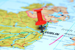 Dublin pinned on a map of europe Royalty Free Stock Image