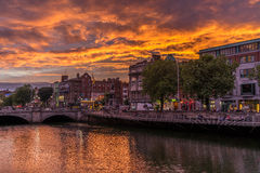 Dublin przy nocą, Ireland Fotografia Royalty Free