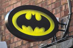 Batman Symbol. Dublin, Republic of Ireland - August 13th 2018: The Batman symbol above a shop in the city of Dublin in the Republic of Ireland royalty free stock photos