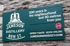 Jameson Distillery in Dublin. Dublin, Republic of Ireland - August 13th 2018: A sign above the entrance to the Jameson Distillery on Bow Street in the city of stock images