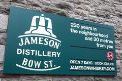 Jameson Distillery in Dublin. Dublin, Republic of Ireland - August 13th 2018: A sign above the entrance to the Jameson Distillery on Bow Street in the city of stock photography