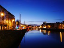 Dublin River Liffey at Evening royalty free stock photos