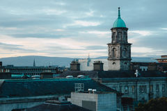 Dublin Rooftops at dawn. Overlooking Dublin city centre rooftops from a hotel on Parnell Street, Dublin, October 16, 2016 Stock Photos