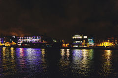 Dublin`s docklands on the river Liffey by night Royalty Free Stock Photo