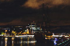 Dublin`s docklands on the river Liffey by night. DUBLIN, IRELAND - Septembter 26th, 2016: Dublin`s docklands on the river Liffey by night Stock Photo