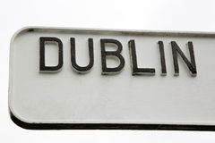 Black and White Dublin Signpost. Dublin Signpost in Ireland, Europe royalty free stock image