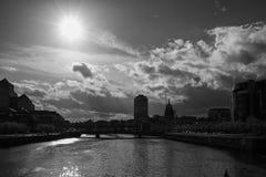 Dublin Skyline (Black and White). Dublin skyline taken from IFSC, Dublin, Ireland Stock Photos