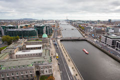 Dublin Skyline. Looking over the skyline of Dublin City from the roof of Liberty Hall towards the Custom House Royalty Free Stock Images