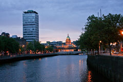 Dublin skyline with Siptu Tower in the evening, Ireland Stock Photos
