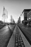 Dublin-Straßen Schwarzweiss Stockfoto