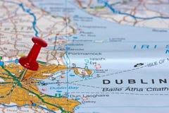 Dublin sur la carte Photos libres de droits