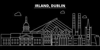 Dublin sylwetki linia horyzontu Irlandia, Dublin wektorowy miasto -, irlandzka liniowa architektura, budynki Dublin podróż ilustracja wektor