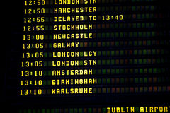 Dublin timetable. Airport departure timetable in Dublin Royalty Free Stock Image