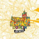 Dublin Travel Secrets Art Map Fotografía de archivo libre de regalías