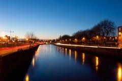 Dublino entro la notte Fotografia Stock Libera da Diritti
