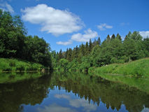 Dubna river. Near Moscow in Summer 2007. Sun, clouds, reflections stock images