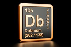 Dubnium Db chemical element. 3D rendering. Dubnium Db, chemical element. 3D rendering isolated on black background Stock Photos