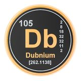 Dubnium Db chemical element. 3D rendering. Isolated on white background vector illustration