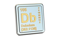 Dubnium Db, chemical element sign. 3D rendering Stock Photo