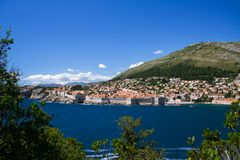 Dubrivnik from Lokrum. The walled city of Dubrovnik as viewed from the island of Lokrum stock image