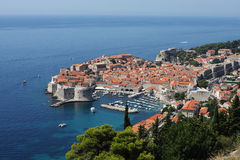 Dubrovnik. View to Dubrovnik legendary old town in Croatia from the nearest mountain Royalty Free Stock Photography