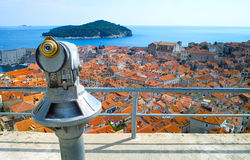 Dubrovnik. A coin operated telescope at a vantage point looking out to Dubrovnik Stock Image