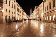 Dubrovnik. The most famous street of Dubrovnik called Stradun Royalty Free Stock Photos