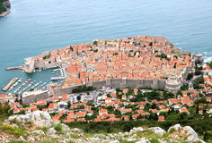 Dubrovnik. Aerial view of the city of Dubrovnik, the UNESCO world heritage fortress on the Adriatic Sea, where a popular TV drama series was filmed Stock Photography