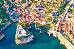 Dubrovnik ancient landmarks Lovrijenac and Pile city gate aerial. View, UNESCO world heritage site in Dalmatia, Croatia Stock Photo