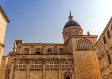 Dubrovnik Assumption Cathedral in center of old town in Dubrovnik, Croatia. Dubrovnik Assumption Cathedral in center of old town in Dubrovnik by day, Croatia stock photography