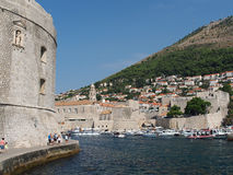 Dubrovnik, august 2013, footpath at the harbor entrance Royalty Free Stock Photography
