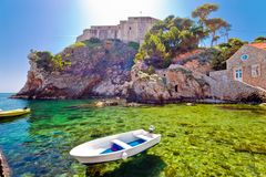 Dubrovnik bay and historic walls and Lovrijenac fort view. Tourist destination in Dalmatia, Croatia Royalty Free Stock Photography
