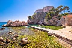 Dubrovnik bay and historic walls and Lovrijenac fort view. Tourist destination in Dalmatia, Croatia Stock Photo